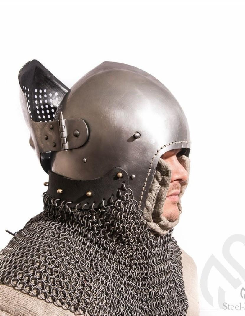 Bascinet 1350-1440 years with Single Ocular visor photo made by Steel-mastery.com