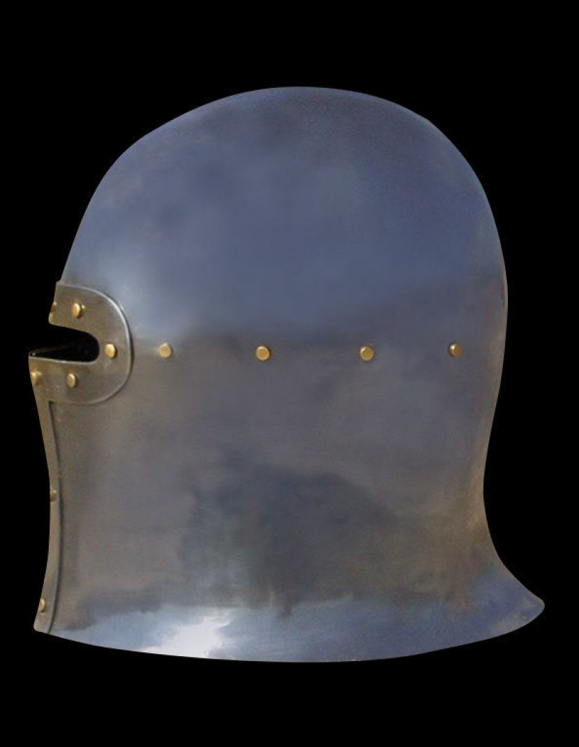 Barbute Helm with narrow T-opening - 1460 year photo made by Steel-mastery.com