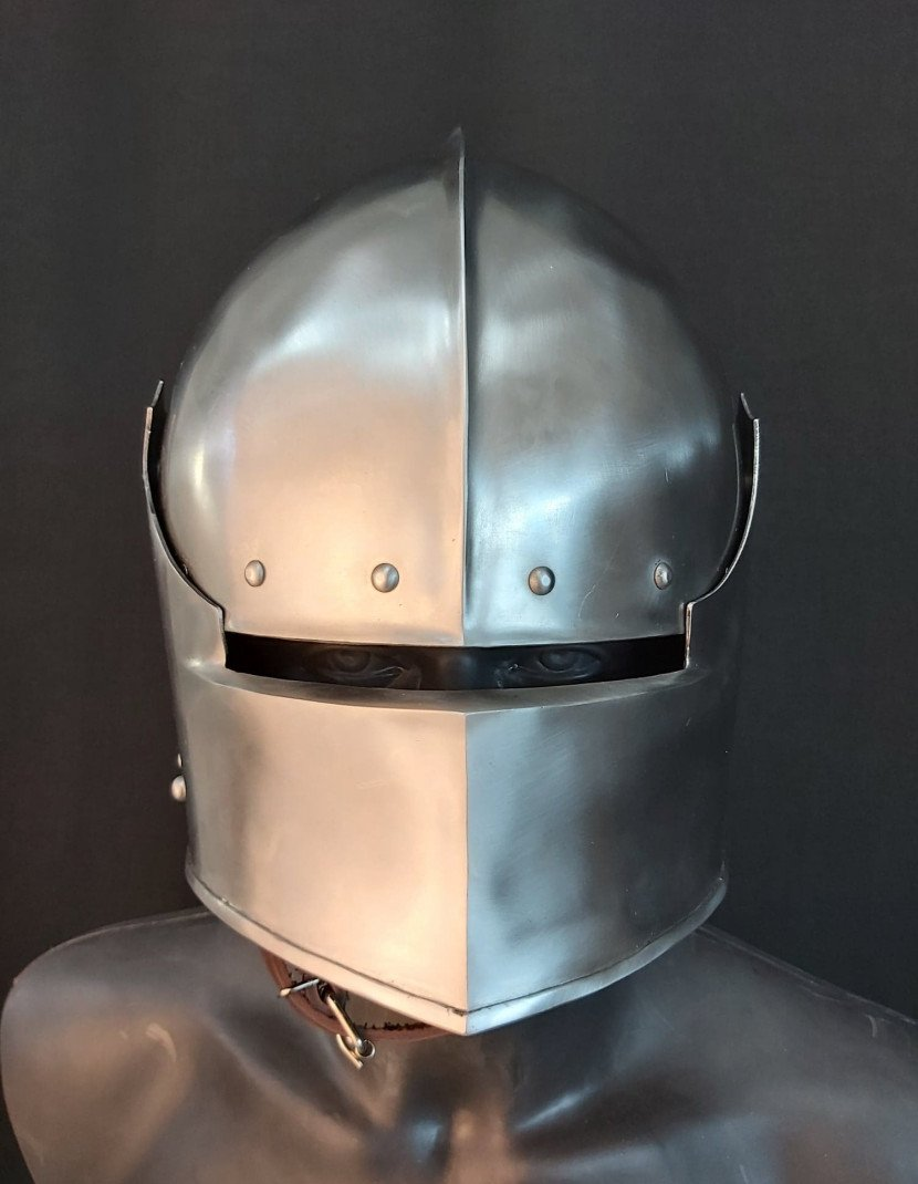Visored french sallet with bevor - 15th century photo made by Steel-mastery.com