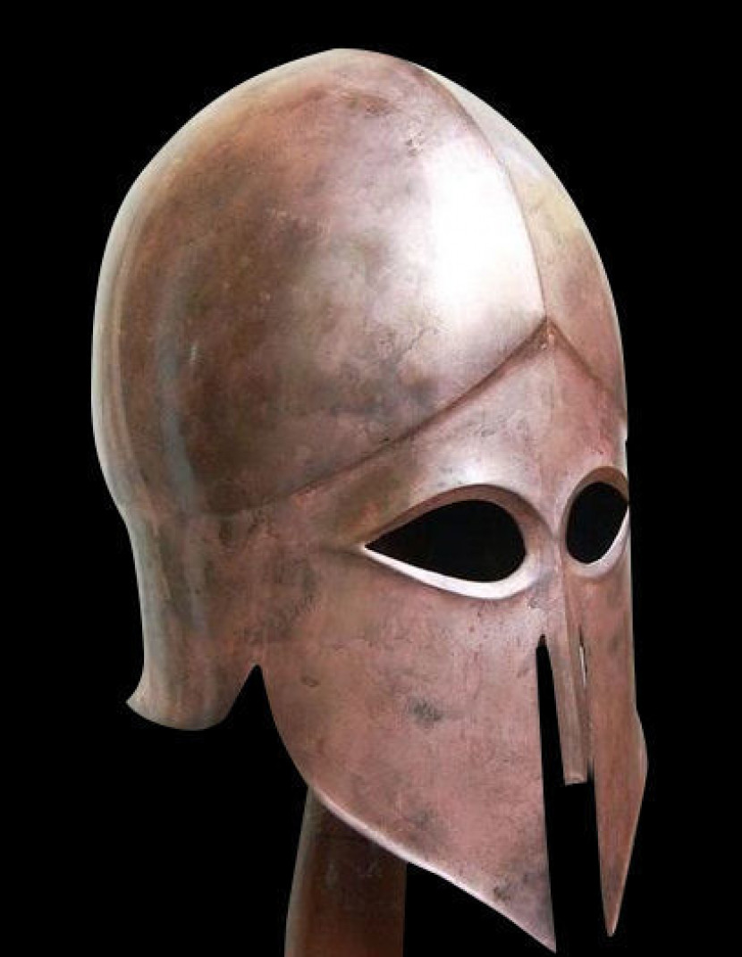 Hoplite Helmet. Corinthian helmet (circa 500 BC.), Antiquity Greece. photo made by Steel-mastery.com