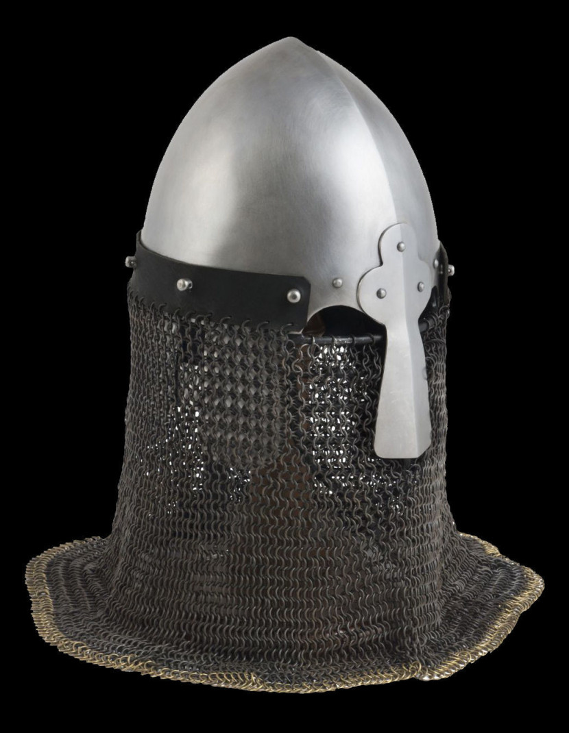 Norman helmet with face and neck protection photo made by Steel-mastery.com