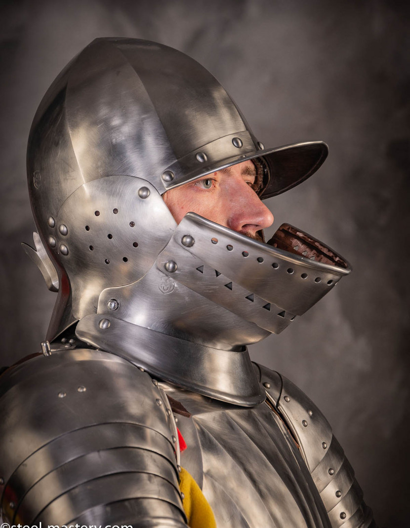 LANDSKNEHT BURGONET HELMET photo made by Steel-mastery.com