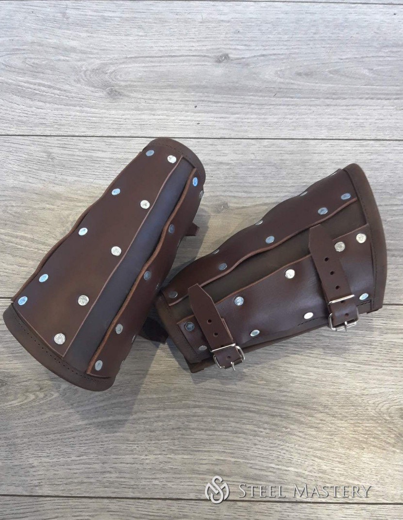 Leather brigandine bracers photo made by Steel-mastery.com