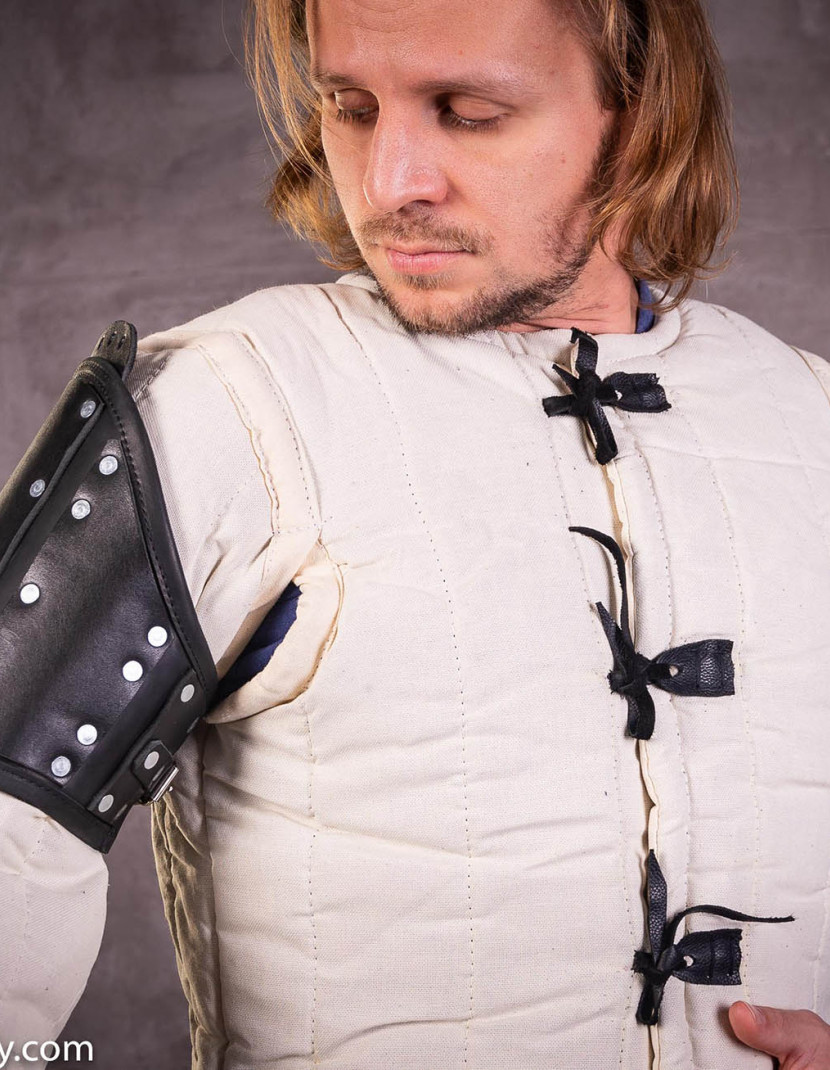 Leather brigandine protection of upper part of arm photo made by Steel-mastery.com