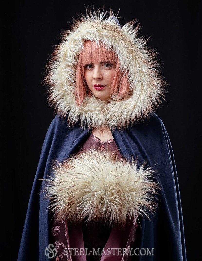 Medieval hooded cloak with fur  photo made by Steel-mastery.com