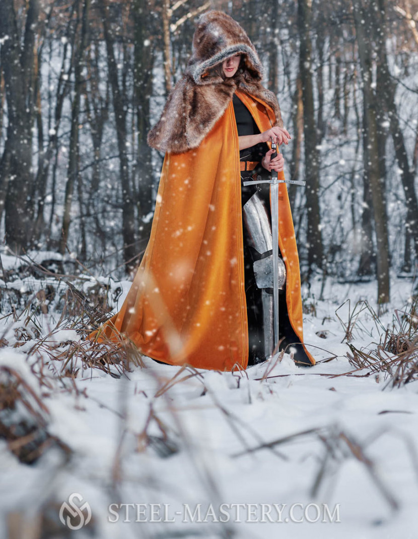 Medieval cloak with shoulder cape  photo made by Steel-mastery.com