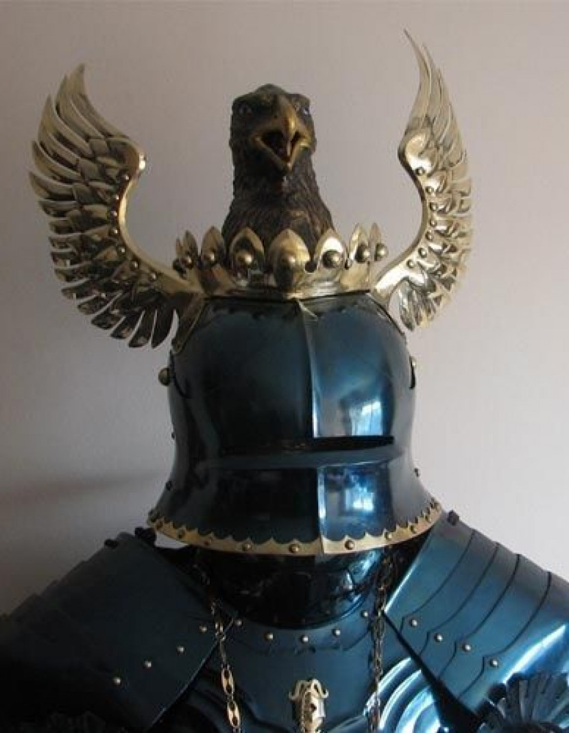 Blued winged sallet with eagle head photo made by Steel-mastery.com