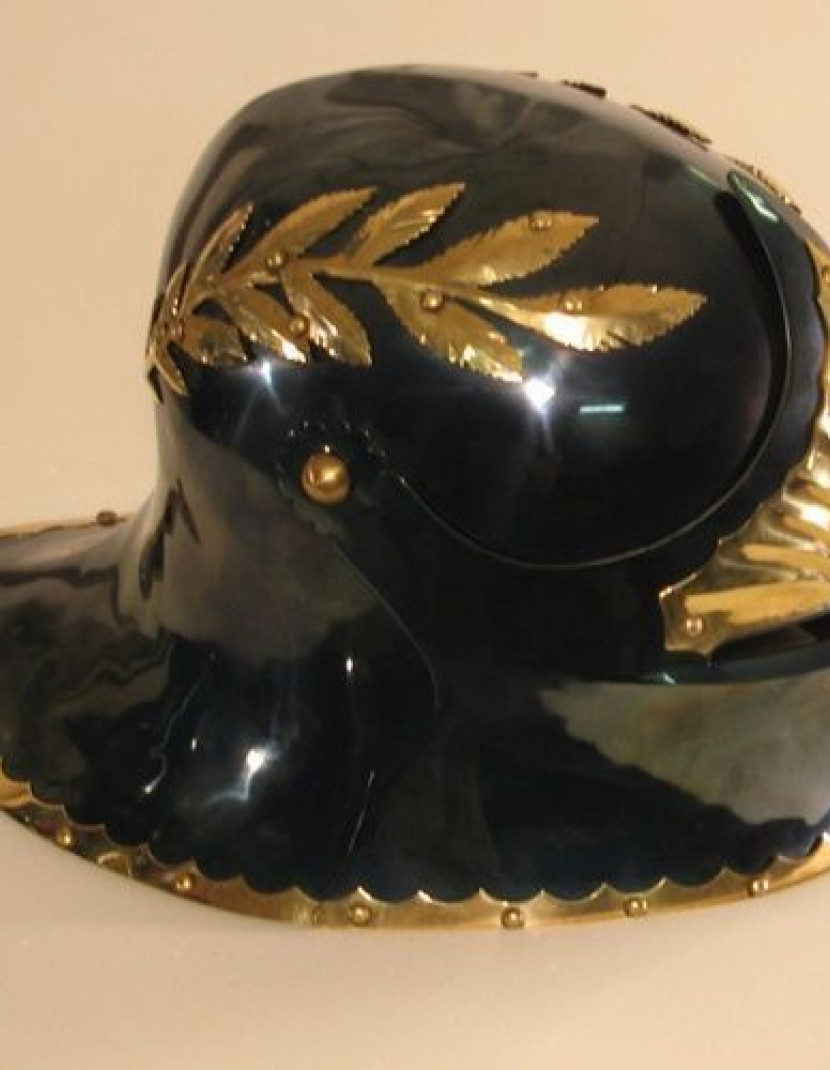 Sallet with brass leaves photo made by Steel-mastery.com