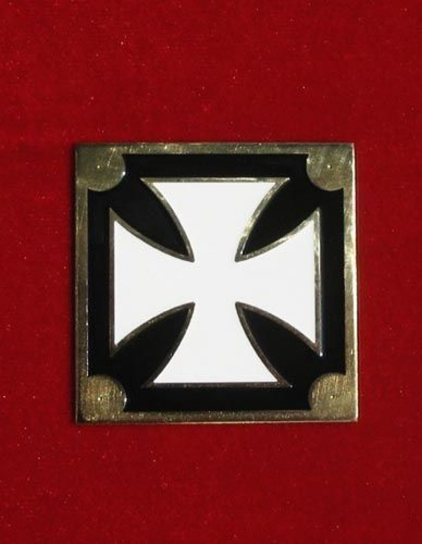 Brass Belt plate with Maltian cross pattern photo made by Steel-mastery.com