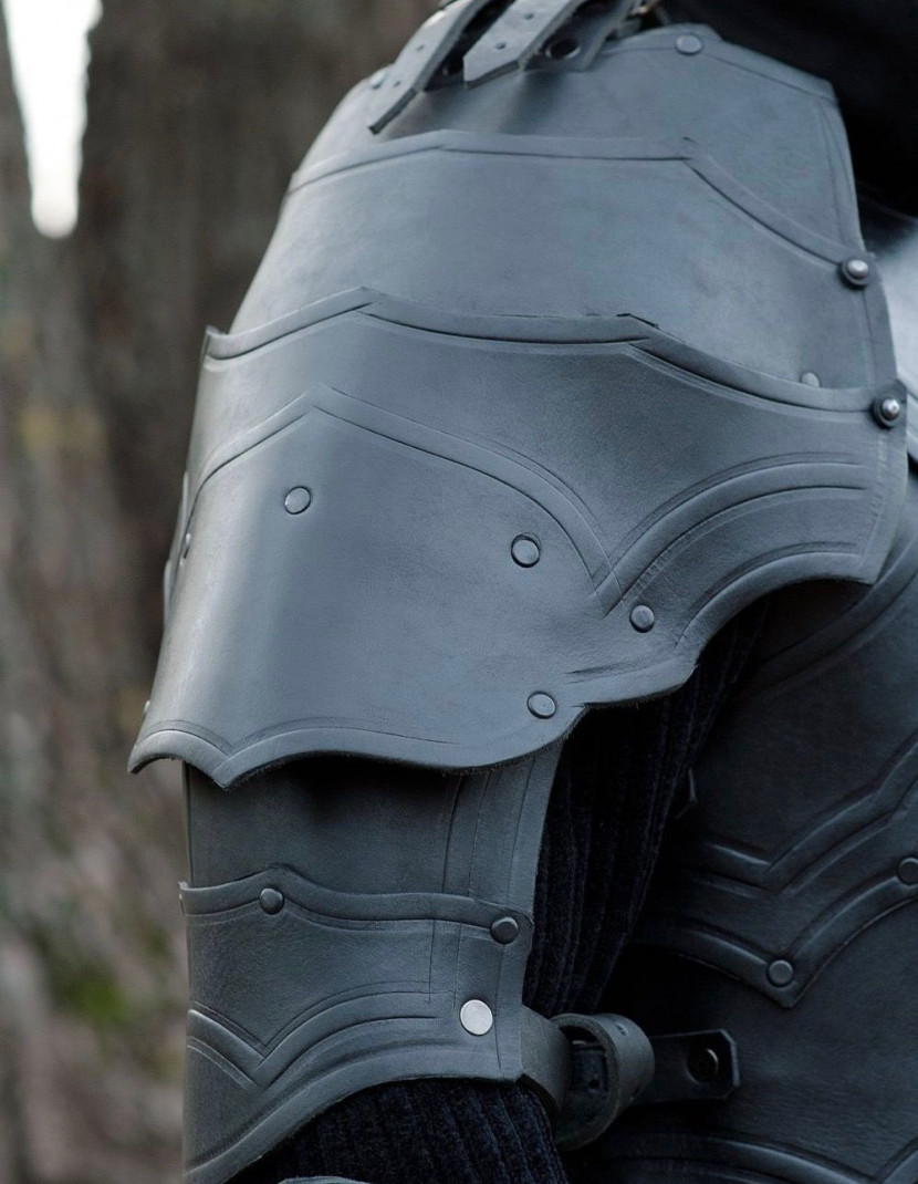 Leather spaulders, part of full LARP-armour. Variant III photo made by Steel-mastery.com
