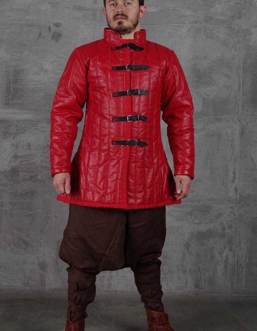 Medieval leather gambeson photo made by Steel-mastery.com