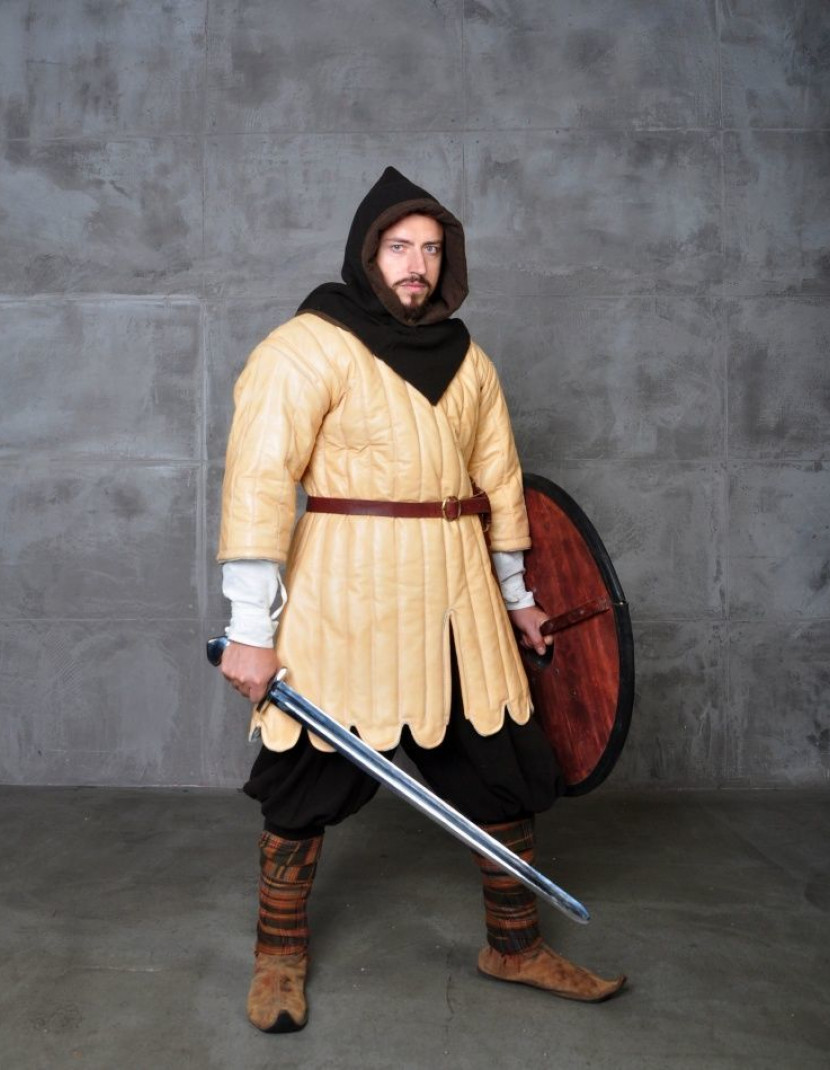 Medieval aketon of leather, XV century photo made by Steel-mastery.com