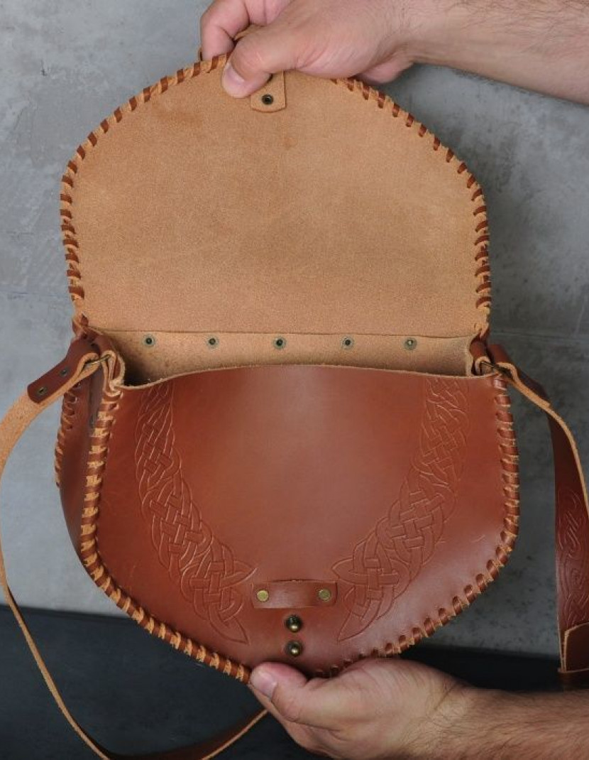 Medieval leather bag with embossed pattern photo made by Steel-mastery.com