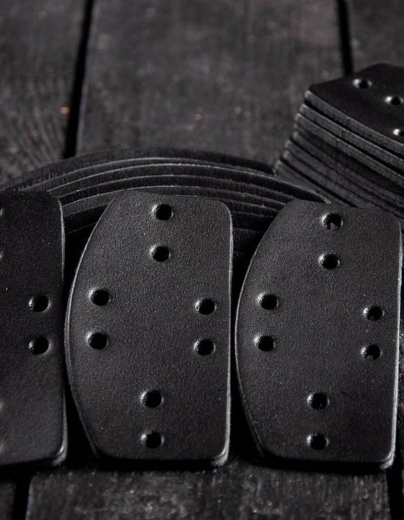 Leather lamellar plates, D-shaped (100 plates in set)  photo made by Steel-mastery.com