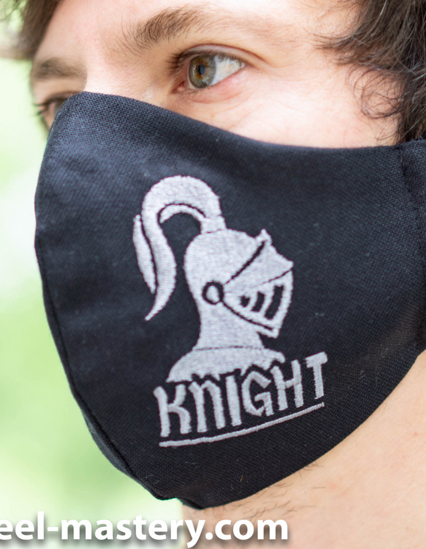 """Decorative face mask with embroidery """"Knight"""" photo made by Steel-mastery.com"""