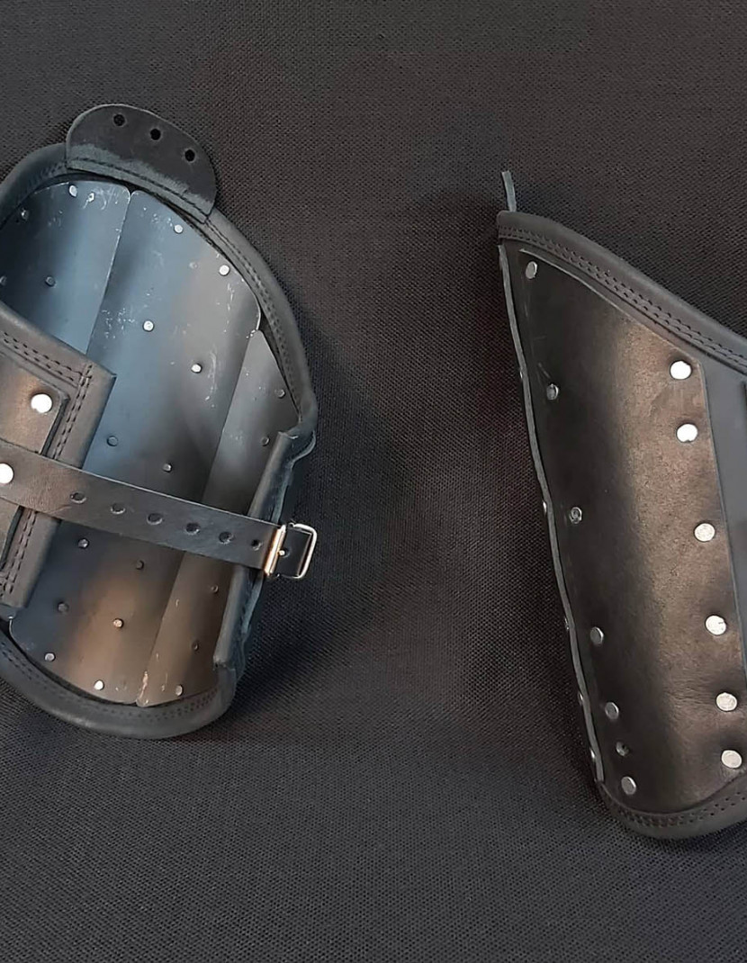 Black leather brigandine protection photo made by Steel-mastery.com