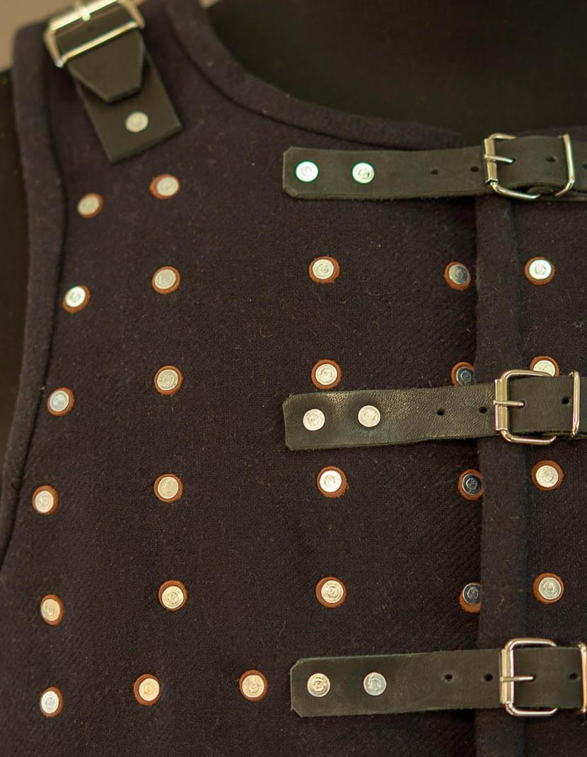 WOOLEN DARK BLUE BRIGANDINE WITH BLACK STRAPS XXL photo made by Steel-mastery.com