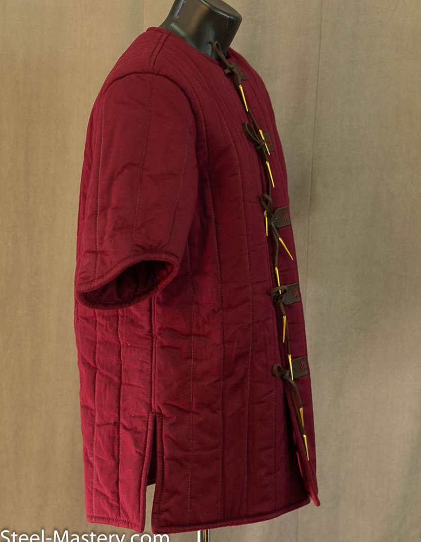 WINE-RED GAMBESON photo made by Steel-mastery.com