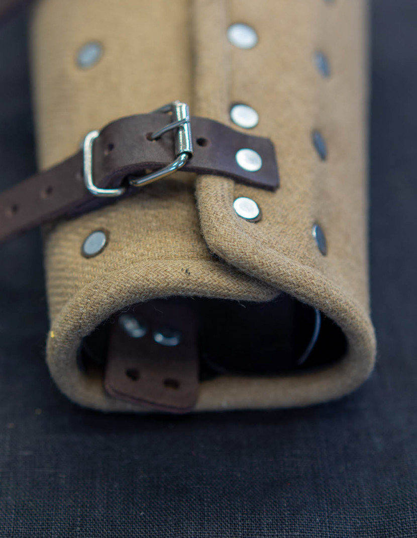 """WOOLEN MEDIEVAL BRACERS COLOR """"COFFEE WITH MILK"""" photo made by Steel-mastery.com"""