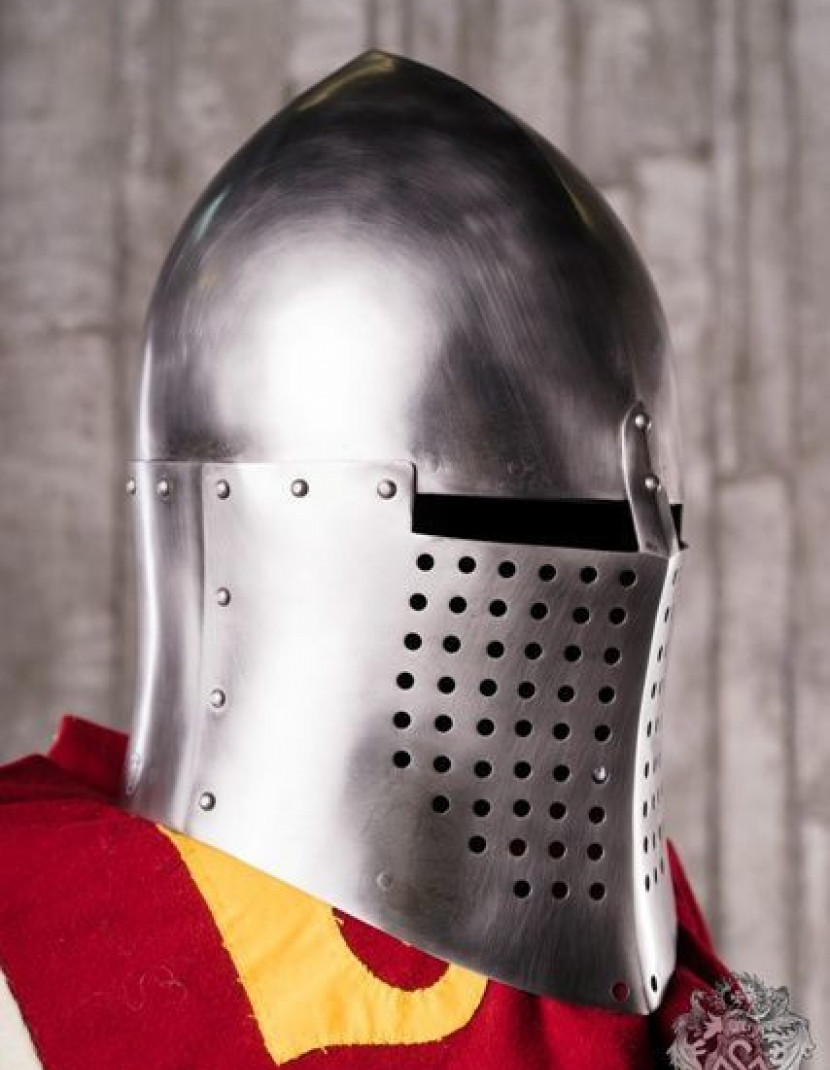 Knightly closed helmet of the 13th century photo made by Steel-mastery.com