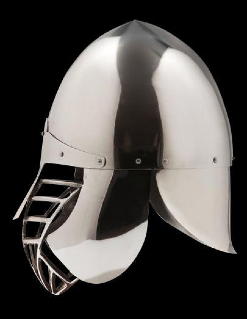 Conical SCA helmet with the grid and full protection of the neck photo made by Steel-mastery.com