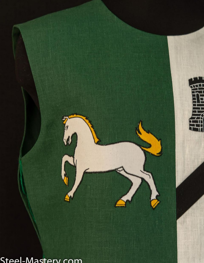 QUARTER COLORED TABARD WITH HORSES AND TOWERS photo made by Steel-mastery.com