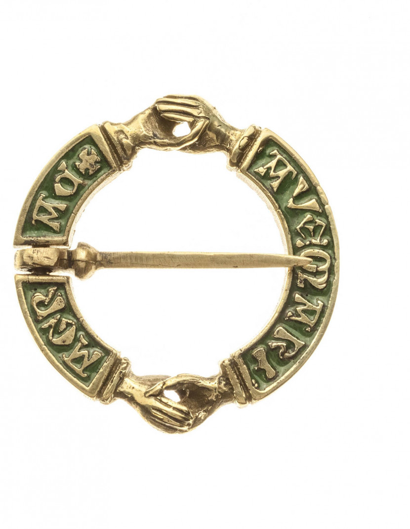 Medieval decorative Fede brooch with enamel photo made by Steel-mastery.com