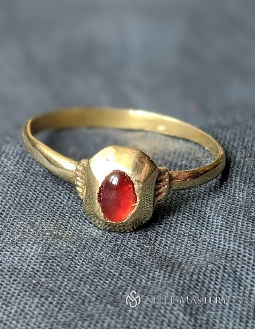 Medieval ring with natural gem photo made by Steel-mastery.com