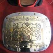 brass breast plate with etching