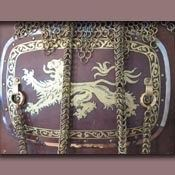 breast plate with painted leather