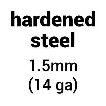 Metal for plate armour: hardened (tempered) steel 1.5 mm (14 ga)