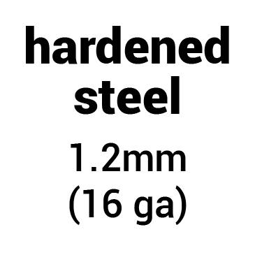 Metal for plate armour: hardened (tempered) steel 1.2 mm (16 ga)