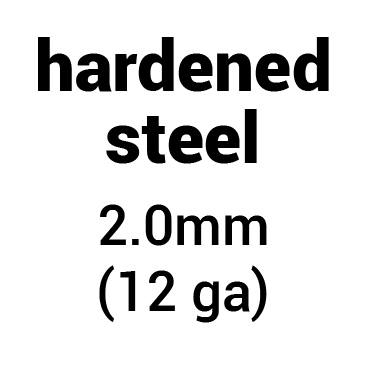 Metal for helmet dome: hardened (tempered) steel 2.0 mm (12 ga)