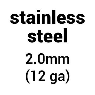 Metal for plate armour: stainless steel 2.0 mm (12 ga)