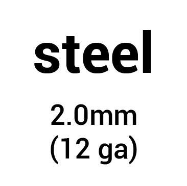 Metal for helmet dome: cold-rolled steel 2.0 mm (12 ga)