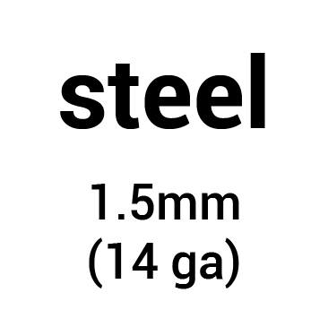 Metal for helmet dome: cold-rolled steel 1.5 mm (14 ga)