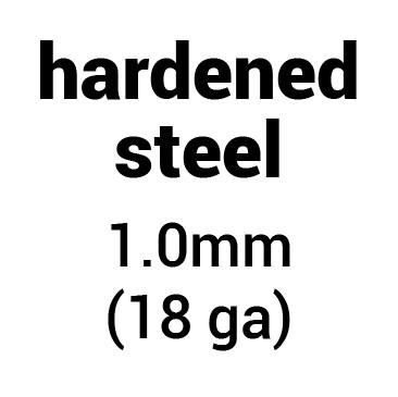 Metal for plate armour: hardened (tempered) steel 1.0 mm (18 ga)